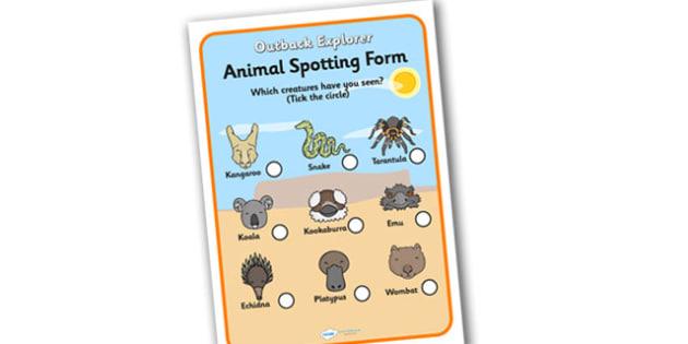 Outback Explorer Animal Spotting Form - outback explorer, animal spotting, animal spotting form, outback explorer worksheets