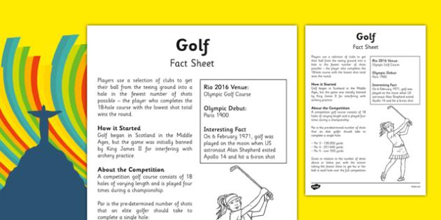 Rio 2016 Olympics Golf Fact Sheet - rio 2016, 2016 olympics, rio olympics, golf, fact sheet