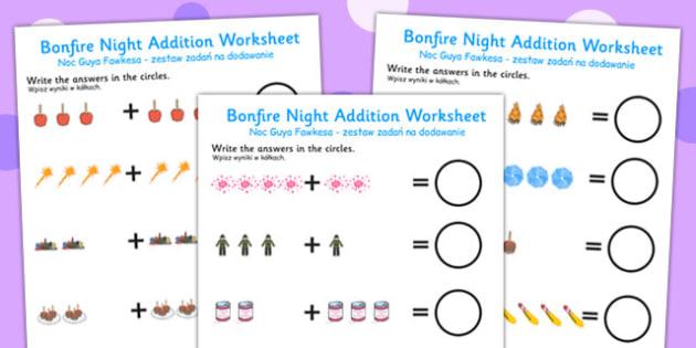 Bonfire Night Fireworks Addition Sheet Polish Translation - polish