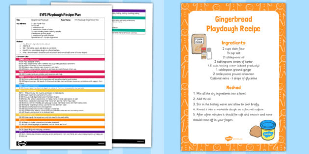 EYFS Gingerbread Playdough Plan and Recipe Pack - playdough, recipe