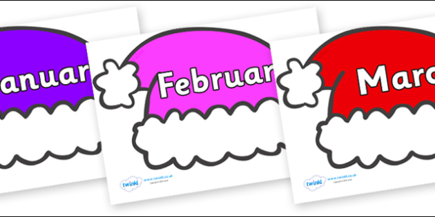 Months of the Year on Santa Hats - Months of the Year, Months poster, Months display, display, poster, frieze, Months, month, January, February, March, April, May, June, July, August, September