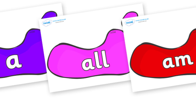 Foundation Stage 2 Keywords on Footprints - FS2, CLL, keywords, Communication language and literacy,  Display, Key words, high frequency words, foundation stage literacy, DfES Letters and Sounds, Letters and Sounds, spelling