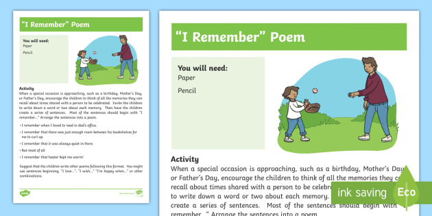 I Remember Poem Activity - poem, remember, create, think, memory, literacy, family, Friend