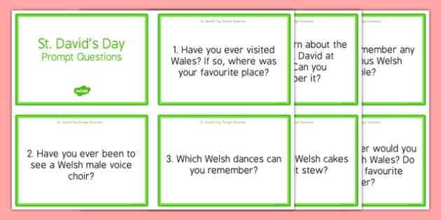 Elderly Care St David's Day Prompt Questions - Elderly, Reminiscence, Care Homes, St. David's Day