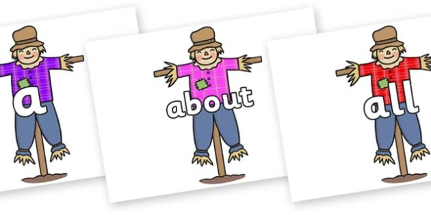 100 High Frequency Words on Scarecrows - High frequency words, hfw, DfES Letters and Sounds, Letters and Sounds, display words