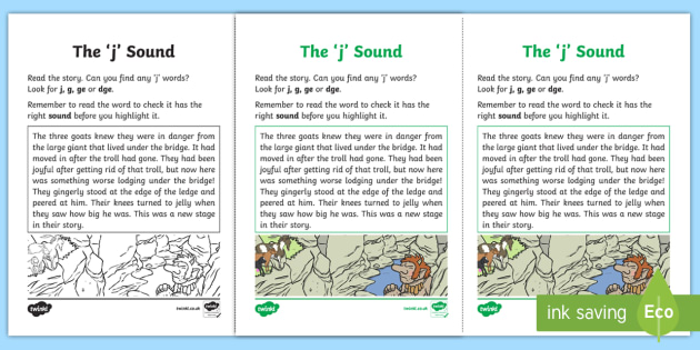 Northern Ireland Linguistic Phonics Stage 5 and 6 Phase 3b, 'j' Sound Activity Sheet - Linguistic Phonics, Phase 3b, Northern Ireland, 'j' sound, sound search, text, Worksheet