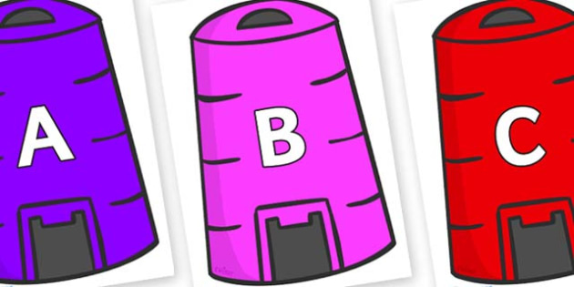 A-Z Alphabet on Recycling Bins - A-Z, A4, display, Alphabet frieze, Display letters, Letter posters, A-Z letters, Alphabet flashcards