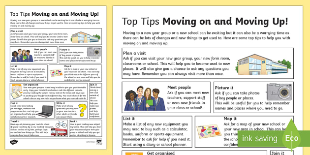 Top Tips For Moving On And Moving Up - transition, independence, change, ks2, ks3, primary, secondary, new school, new starters, progression