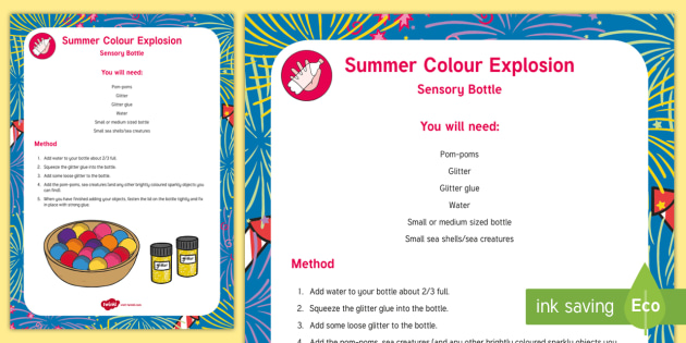 Colour Explosion Sensory Bottle - colour, explosion, sensory bottle