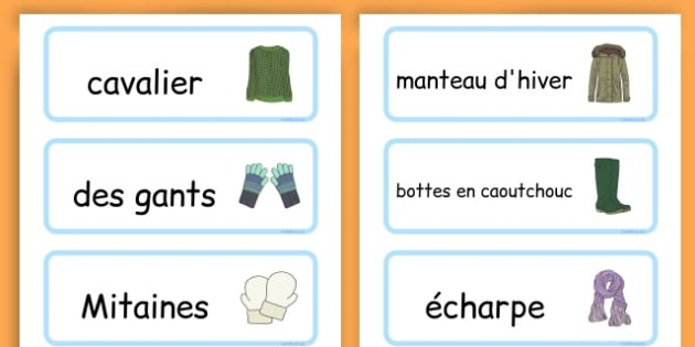 Winter Clothes Word Cards - winter clothes, word cards, winter, clothes - French