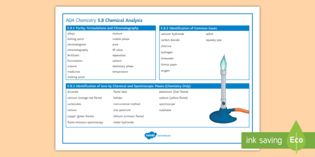 AQA Chemistry 5.8 Chemical Analysis Word Mat -  AQA, GCSE, Chemistry, purity, formulations, chromatography, separation, gas test, squeaky pop, litm