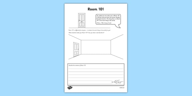 Room 101 Write and Draw Your Worst Thing Activity Sheet - 1984, George Orwell, Big Brother, Ministry of Love, Worst thing in the world, worksheet