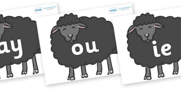 Phase 5 Phonemes on Baa Baa Black Sheep - Phonemes, phoneme, Phase 5, Phase five, Foundation, Literacy, Letters and Sounds, DfES, display