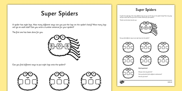 Super Spiders Activity Sheet, worksheet