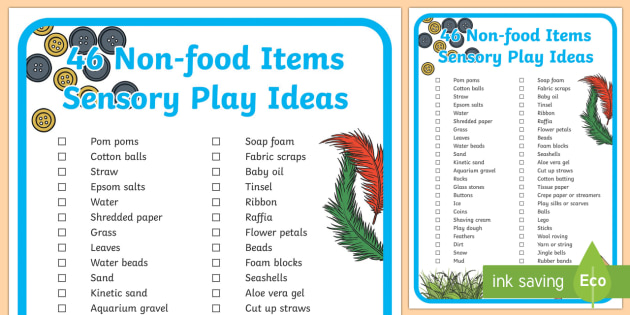 Non-food Items Sensory Play Ideas A4 Display Poster