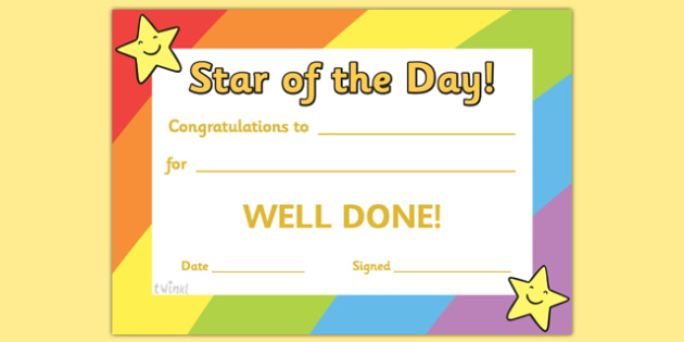 Star Of The Day Award Certificate - Star Of The Day