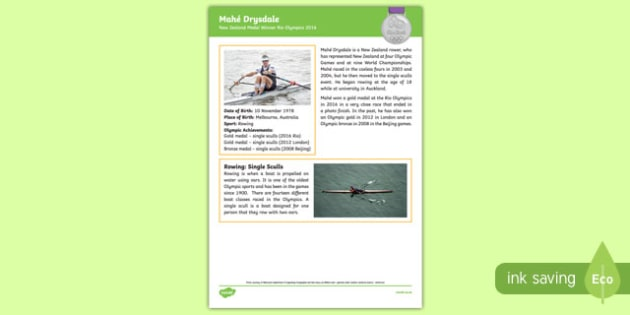 New Zealand Olympic Medal Winner   Mahē Drysdale Fact File