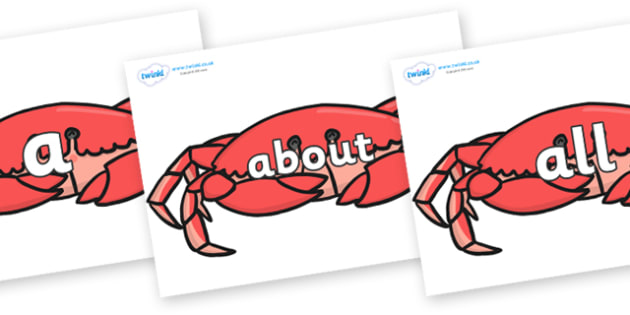 100 High Frequency Words on Crabs - High frequency words, hfw, DfES Letters and Sounds, Letters and Sounds, display words