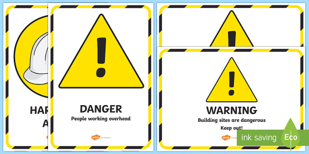 Building Site Role Play Signs - roleplay, builders, drama, acting