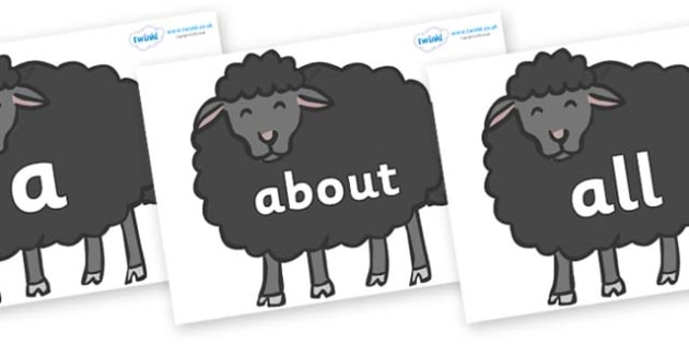 100 High Frequency Words on Baa Baa Black Sheep - High frequency words, hfw, DfES Letters and Sounds, Letters and Sounds, display words