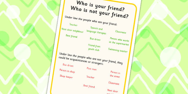 Who Is Your Friend Worksheet - friends, friendship, SEN, prompts