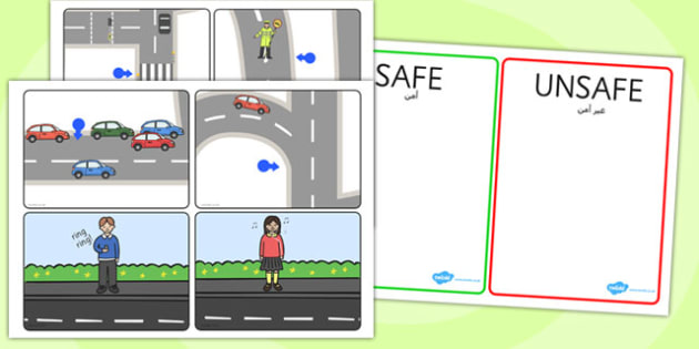 Crossing the Road Safe and Unsafe Sorting Cards Arabic Translation - arabic