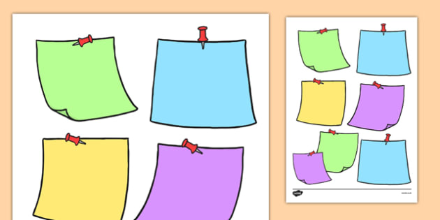 Editable Sticky Notes Themed Sheet - editable, sticky note, post-it notes, templates, edit