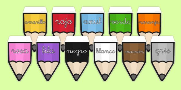 Banderitas de exposición - colores en lápices - azul, rojo, amarillo, verde, colorear, pintar, decoración de la clase