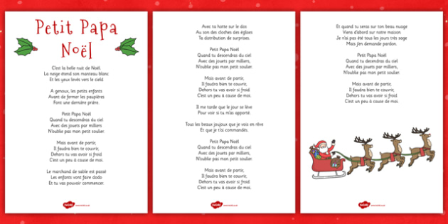 Petit Papa Noël Lyric Sheet French - french, twas the night before christmas, lyrics