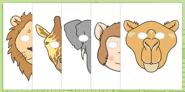 Story Role Play Masks to Support Teaching on Dear Zoo - Dear Zoo, Rod Campbell story, zoo, zoo animals, adjectives, descriptive words, lion, monkey, puppy, giraffe, story book, story book resources, story sequencing, story resources, zoo, animals, ro