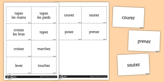 French Actions Vocabulary Flashcards - french, actions, vocabulary, flashcards