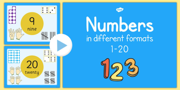 Numbers 1-20 in Different Formats Presentation - numbers, 1-20, different formats, presentation