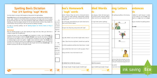Year 3/4 Spelling at Home: Words with \'ough\'  Spelling Pack - Support with KS2 spellings, ough, words with 'ough', Year 4, Y4, spelling, SPaG, GPS, home, home l