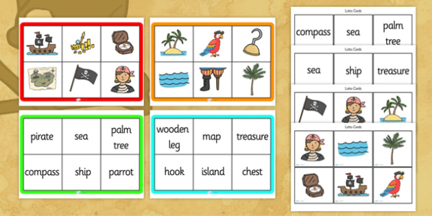 Pirates Bingo - Pirates, bingo, activity, game, pirate, pirates, treasure, ship, jolly roger, ship, island, ocean