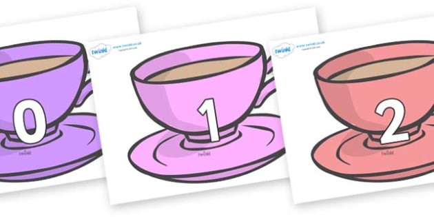 Numbers 0-50 on Cups - 0-50, foundation stage numeracy, Number recognition, Number flashcards, counting, number frieze, Display numbers, number posters
