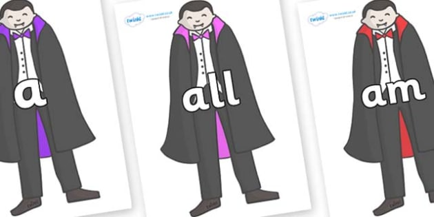 Foundation Stage 2 Keywords on Vampires - FS2, CLL, keywords, Communication language and literacy,  Display, Key words, high frequency words, foundation stage literacy, DfES Letters and Sounds, Letters and Sounds, spelling