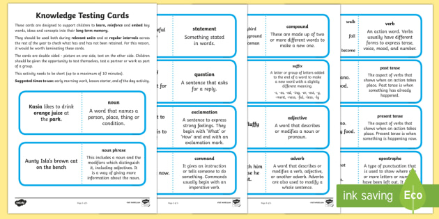 Knowledge Testing Cards Literacy Year 2 Terminology - Year 2, SPaG, grammar, challenge cards, literacy, english, terminology, revision, display