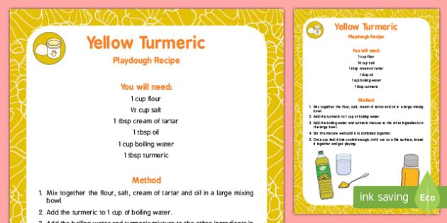 Natural Dye 'Yellow' Turmeric Playdough Recipe