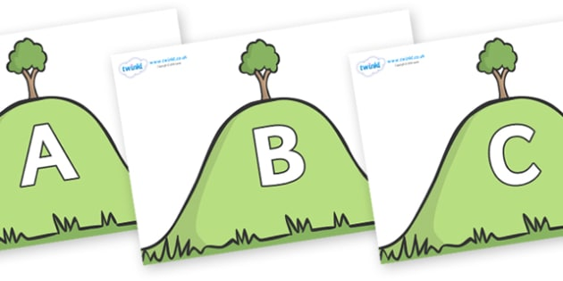 A-Z Alphabet on Hills - A-Z, A4, display, Alphabet frieze, Display letters, Letter posters, A-Z letters, Alphabet flashcards
