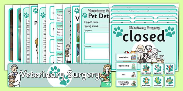 Vet's Surgery Role Play Pack - Vet Surgery, vets, role play, Display signs, display, labels, pack, vet, operation, xray, nurse, medicine, vaccine, bandage, cat, dog, rabbit