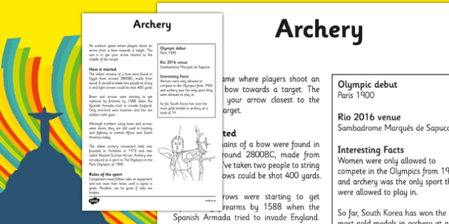 The Olympics Archery Fact Sheet - the olympics, rio olympics, 2016 olympics, rio 2016, archery, fact sheet