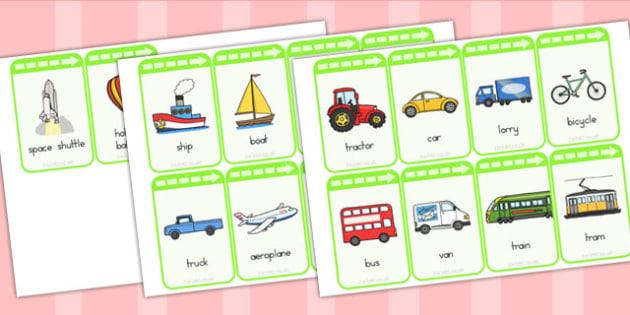 Transport Flashcards - transport, flashcard, word cards, keywords