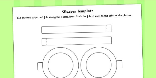Glasses Template - glasses, template, role play, craft activity