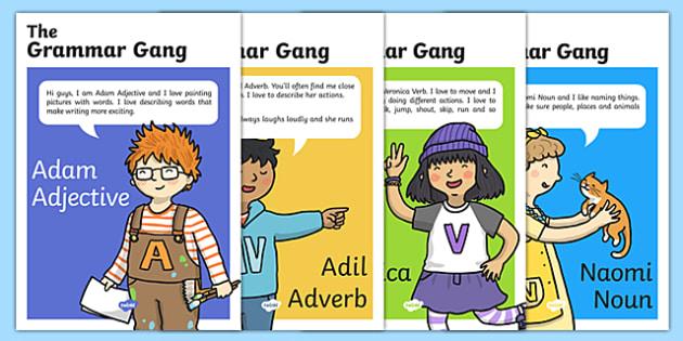 Grammar Gang Character Display Posters - grammar game, character, display