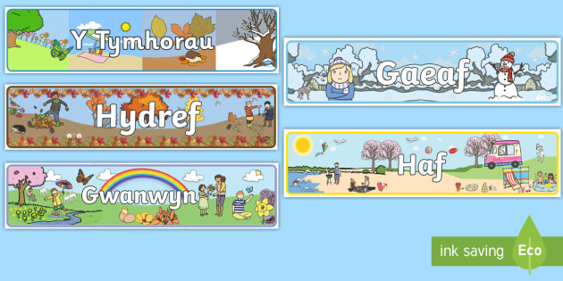 Baner Arddangos 'Y Tymhorau' - Seasons, season, autumn, winter, spring, summer, fall, seasons activity, seasons display, four seasons, foundation stage, topic