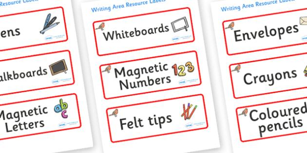 Robin Themed Editable Writing Area Resource Labels - Themed writing resource labels, literacy area labels, writing area resources, Label template, Resource Label, Name Labels, Editable Labels, Drawer Labels, KS1 Labels, Foundation Labels, Foundation