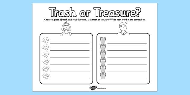 Trash or Treasure Nonsense Words Worksheet - trash, treasure, nonsense