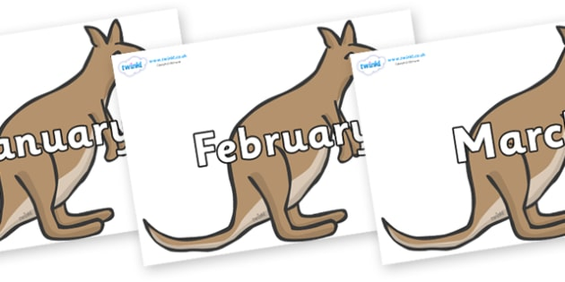Months of the Year on Kangaroos - Months of the Year, Months poster, Months display, display, poster, frieze, Months, month, January, February, March, April, May, June, July, August, September