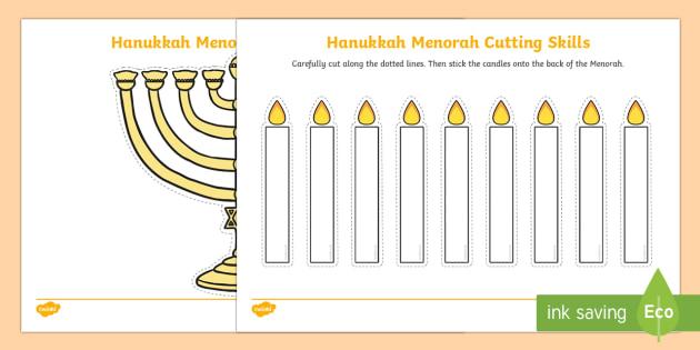 Hanukkah Menorah Cutting Skills Activity Sheet - Hanukkah, Jew, Judaism, celebration, light, festival, menorah, cutting skills, fine motor skills