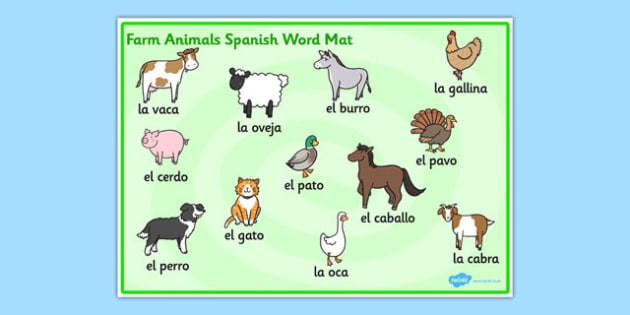 Farm Animals Word Mat Spanish - Animals, Farm, Word, Mat, Spanish
